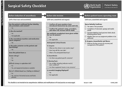 Surgical Safety Checklist Example, British Columbia Medical Journal - June 2010, Taken from Flickr, CC All Rights Reserved