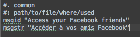 Example of .po file formatting